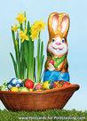 Ansichtkaart Paashaas paaseieren, Easter bunny easter eggs postcard, PostkarteOsterhase und Ostereiern