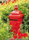 Ansichtkaart rode brievenbus, postcard red mailbox, postkarte Rote Briefkasten