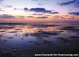 Ansichtkaartzonsondergang Waddenzee - postcard sunset Wadden sea - postkarte Sonnenuntergang Wattenmeer UNESCO WHS
