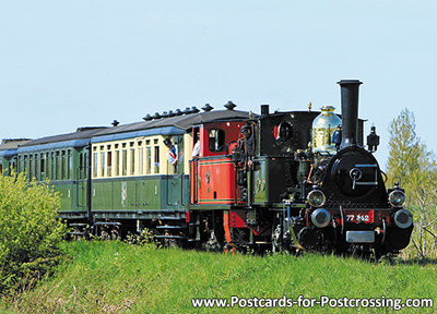 trein ansichtkaart Stoomlocomotief NS 7742, train postcard Steam Locomotive NS 7742, Zug Postkarte NS 7742
