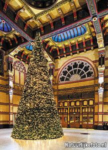 ansichtkaart kerstboom Centraal Station Groningen, postcard Christmas tree Central Station, Postkarte Tannenbaum Hauptbahnhof