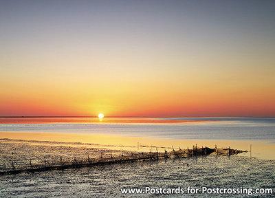 Ansichtkaart zonsopkomst Waddenzee, postcard sunrise Wadden sea, Postkarte Sonnenaufgang Wattenmeer, UNESCO WHS