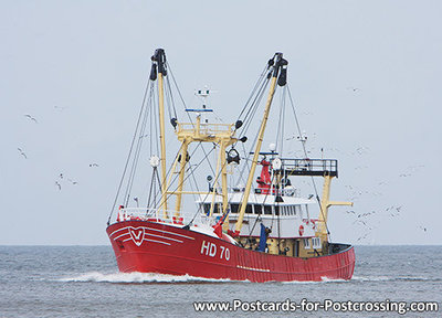 Ansichtkaart vissersboot