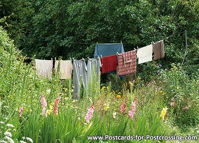 Ansichtkaartwaslijn kaart, Postcard washing line, PostkarteWäscheleine