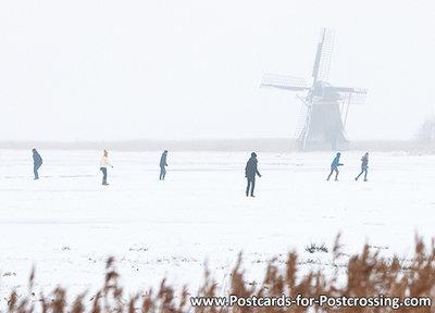 Ansichtkaart Ypey molen met schaatsers, winter postcard Ypey Mill, Postkarte Ypey Muhle