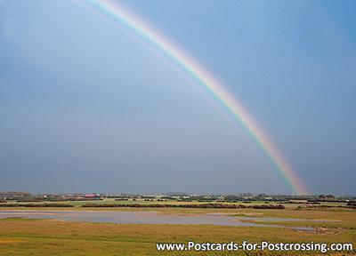 regenboog kaart, leuke ansichtkaart / postkaart van een regenboog