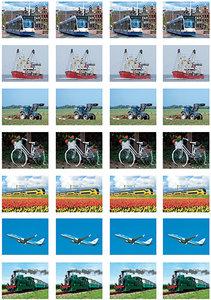 Vervoersmiddelen stickervel voor Postcrossing