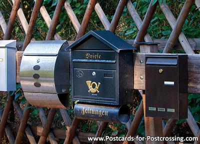 ansichtkaart brievenbussen, mailboxes postcard, Briefkästen postkarte