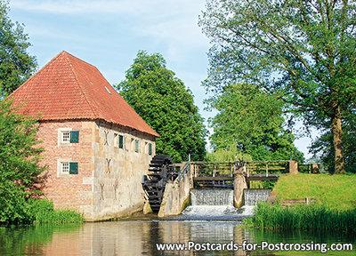 Ansichtkaartwatermolen bij Eibergen, Postcard Watermill in Eibergen, PostkarteWassermühle